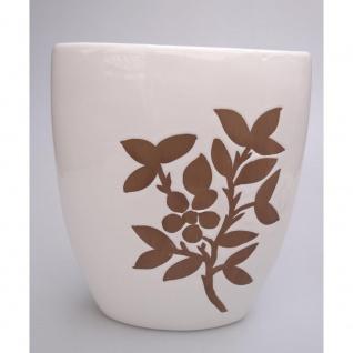 Vase AST ZWEIG Keramik weiß mit braunem Holz-Dekor H 20cm B 24cm Casablanca WA