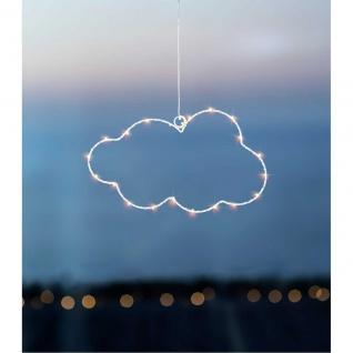 LED Deko Hänger Wolke CLOUD mit Timer und 20 LEDS B. 30cm H. 17cm weiß Sirius