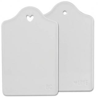 2er Set Brettchen HEART 24x16cm H. 1, 5cm Keramik weiß Bastion Collections