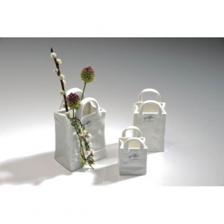 6er Set Porzellanvasen BAG TASCHE 13, 5x7, 5cm weiß Porzellan Sandra Rich