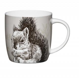 Becher, Tasse COTTAGE Eichhörnchen für 425ml weiß bunt Porzellan KitchenCraft