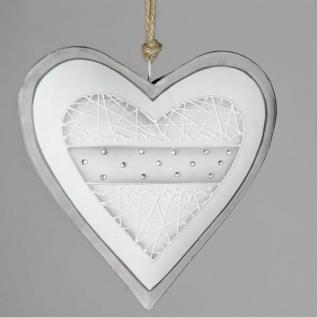 Deko Hänger Herz LANDHAUS D. 19cm weiß grau Metall Formano