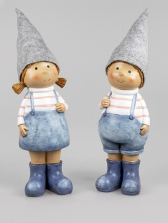 2er Set Dekofiguren Sommerkinder Junge + Mädchen H. 46cm handbemalt Formano
