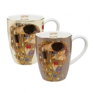 2er Set Gustav Klimt Becher, Tassen DER KUSS für 400ml Porzellan Goebel
