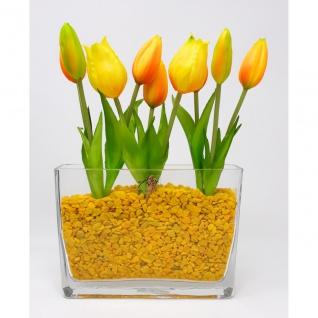 Frühlings Deko Glas mit Tulpen Arrangement in Glasschale gelb CREAFLOR HOME