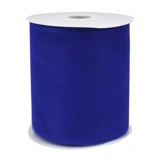 Tüllband, Schleifenband gewirkter Tüll 50mm blau 50m Rolle (1m=0, 10EUR) Goldina