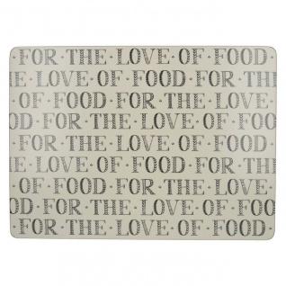 4er Set Tischsets, Platzsets FOOD LOVE creme grau Kork 40x29cm Creative Tops WA