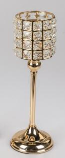 Teelichthalter RHINESTONES GOLD H. 44cm gold mit Kristallsteinen Formano