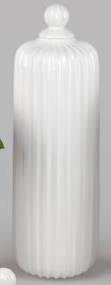 Deko Vase RELIEF RILLEN mit Deckel H. 52cm weiß creme Keramik Formano WA