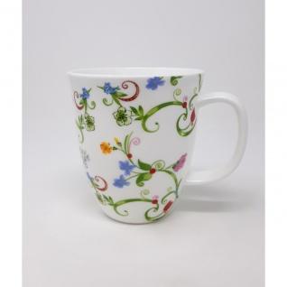Becher Tasse FLEURETTE für 350ml weiß Blumen Porzellan TeaLogic