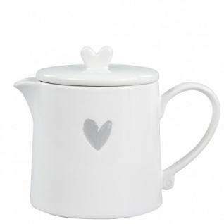 Teekanne HEART mit grauem Herzmotiv weiß grau aus Keramik Bastion Collections
