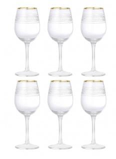 6x Weinglas ROYAL H. 22, 5cm D. 9cm mit Echtgoldauflage Glas Bloomingville