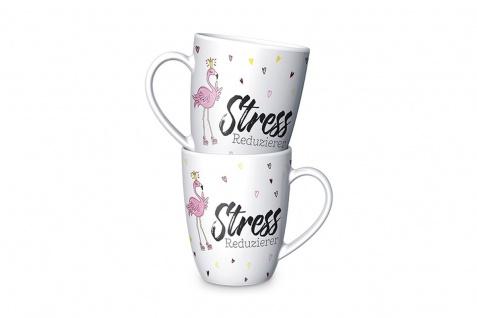 Becher Tasse STRESSREDUZIERER Flamingo weiß 250ml Happy Zoo Porzellan LaVida