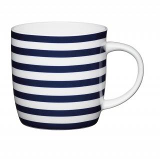 Becher, Tasse MARITIM Nautical Stripes für 425ml weiß Porzellan KitchenCraft