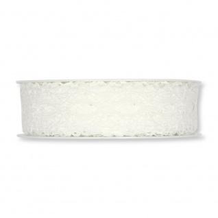 Schleifenband, Dekoband Spitze 25mm, creme weiß, 15m Rolle (1m=0, 43 EUR) Halbach