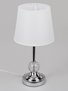 Tischlampe, Leuchte KRISTALLKUGEL rund H. 38cm silber Metall + Glas Formano