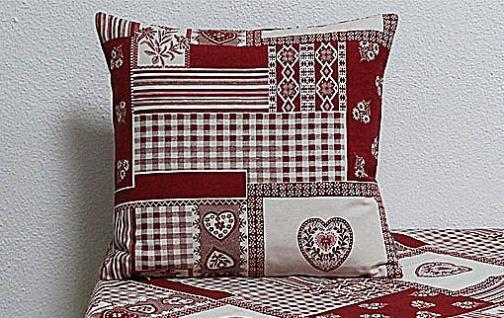 Kissenhülle Kissenbezug Taylor Herzen & Ornamente rot weiß 50x50cm Hossner