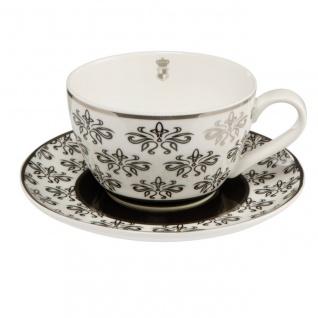 Tasse mit Unterteller CHATEAU FLORAL für 250ml schwarz weiß Goebel Porzellan WA