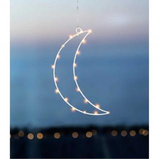 LED Deko Hänger Mond MOON mit Timer und 40 LEDs H. 31cm weiß aus Metall Sirius