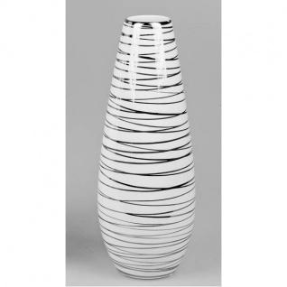 Deko Vase SPIRALE konisch rund H. 30cm D. cm weiß silber aus Keramik Formano