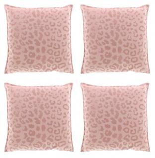 4er Set Kissen mit Füllung NALA LEO Muster 45cm old pink altrosa Unique Living