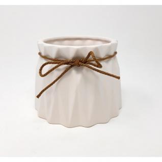 Übertopf, Deko Vase CRINKLE medium H. 10cm D. 13, 5cm weiß Keramik Sandra Rich