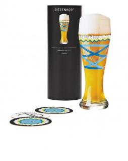 Ritzenhoff WEIZEN Weizenbierglas, DIRNDL mit Bierdeckeln by Dominique Tage 2019