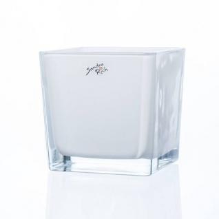 6er SET Teelichtgläser Windlichter WHITE CUBE H. 12cm Glas weiß Sandra Rich