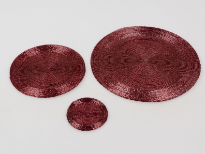 8x Platzset, Tischset PERLEN rund beere rot D. 20cm Formano - Vorschau 2