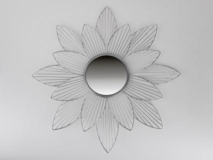 Wanddeko Spiegel BLÜTE D. 68cm silber matt Metall + Glas Formano