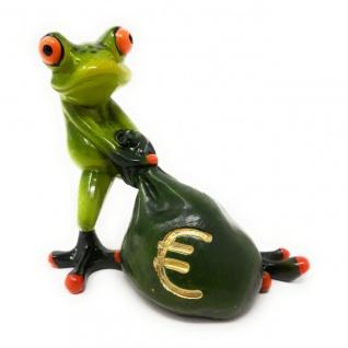 Dekofigur Frosch Money mit Geldsack grün Formano
