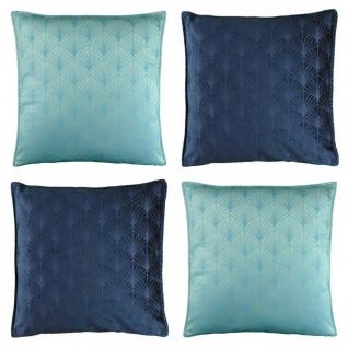 4er Set Kissenhülle Kissenbezug ART DECO 45x45cm blau, hellblau