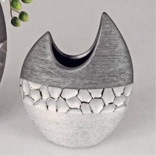 Deko Vase MODERN STONES oval H. 21cm B. cm silber grau Keramik Formano