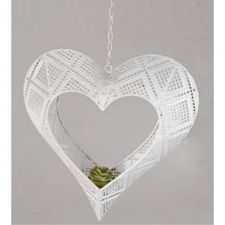 Deko Hänger Teelichthalter Herz mit Karomuster D. 30cm weiß Metall Formano