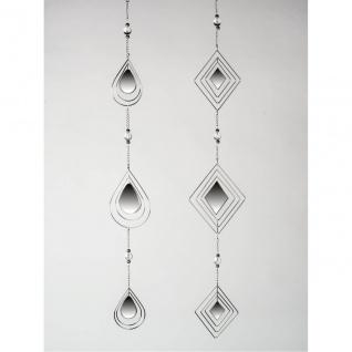 2er SET Deko Hänger MIRROR Spiegel L. 84cm silber aus Metall + Glas Formano
