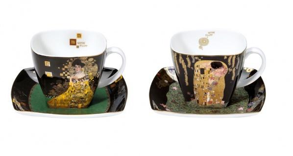 2er Set Gustav Klimt Tassen mit Untertasse SET 2 250ml Goebel Porzellan