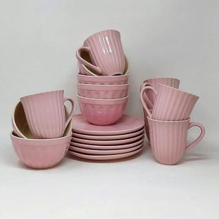 18tlg Frühstücksservice Teller, Tassen + Schalen MYNTE ENGLISH ROSE Ib Laursen