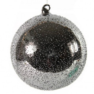Weihnachtskugel, Deko Hänger Kugel PEPITO L silber D. 12cm Glas Decostar W17