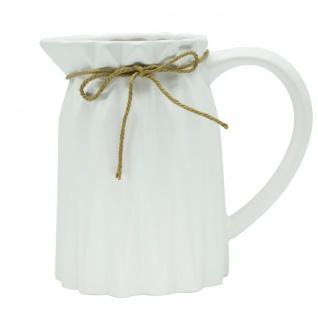 Übertopf, Deko Vase CRINKLE H. cm D. cm weiß rund Keramik Sandra Rich