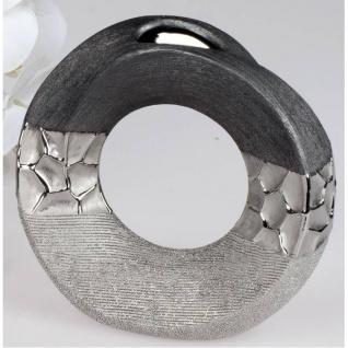 Deko Vase MODERN STONES rund H. 18cm silber grau aus Keramik Formano