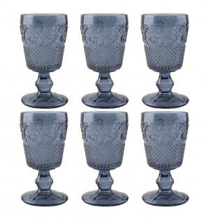 6er Set Kelchgläser Katie Alice VINTAGE INDIGO für 250ml blau Glas KitchenCraft