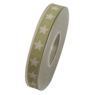 Schleifenband STERNE 15mm (1m=0, 35EUR) beige grün 20m Rolle Goldina WA