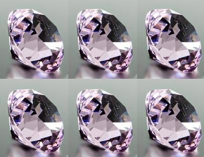 6er Set Deko Diamanten rosa D. 4cm Glas geschliffen Formano