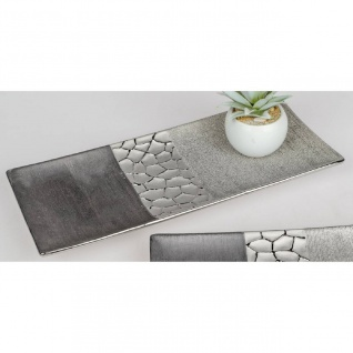 Deko Schale, Dekoteller MODERN STONES L. 39cm silber grau Keramik Formano