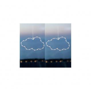 2er Set LED Hänger Wolke CLOUD 20 Lichter H 17cm weiß mit Timer Sirius