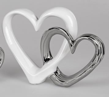 Dekoobjekt Herz in Herz stehend H. 21cm weiß silber Keramik Formano