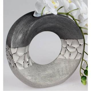 Deko Vase MODERN STONES rund H. 23cm silber grau aus Keramik Formano