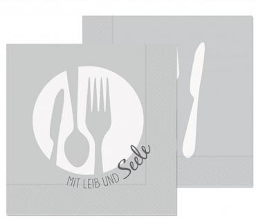 20er Pack Papierservietten MIT LIEBE GEKOCHT 33x33cm hellgrau Kitchen La Vida
