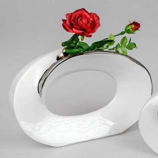 Deko Vase SILVER BORDER H. 22cm B. 33cm weiß silber Keramik Formano