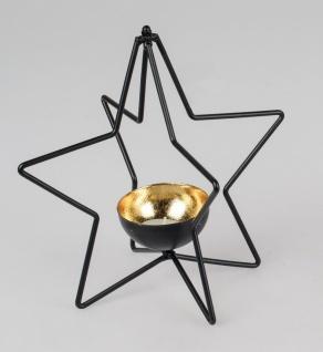 Teelichthalter, Windlicht Stern D. 24cm schwarz gold Metall Formano